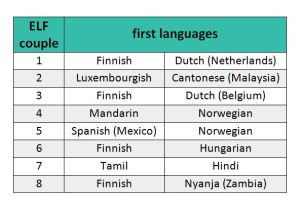 An overview of the first language backgrounds of the ELF couples in Kaisa Pietikäinen's research