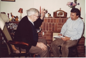 Ihalainen (right) making field recordings of interviews with speakers of the Somerset dialect.Source: VARIENG website