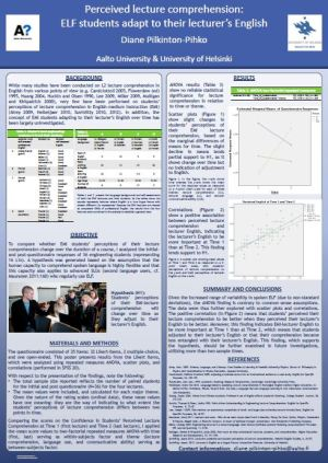 "Click on the image to view the poster, ""Perceived lecture comprehension: ELF students adapt to their lecturer's English"" by Diane Pilkinton-Pihko, as a pdf file"