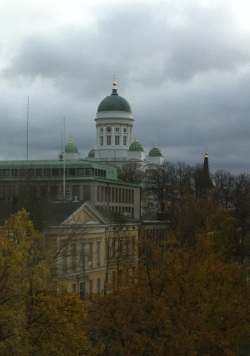 The late October view up Unioninkatu toward the Helsinki Cathedral