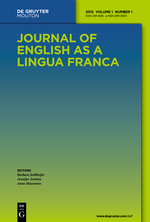 Click the image to jump to the article (behind paywall):Kao, S. & Wang, W. (2014) Lexical and organizational features in novice and experienced ELF presentations. Journal of English as a Lingua Franca, 3(1), 49-79. DOI: 10.1515/jelf-2014-0003.