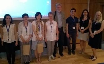 ELF7 Doctoral workshop. From left: Roxani Faltzi, Haibo Liu, Yumi Matsumoto, convenors Barbara Seidlhofer and Henry Widdowson, Talip Gulle, Miya Komori-Glatz and Kaisa Pietikäinen.